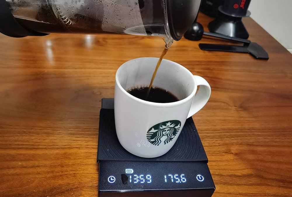 gently pour the coffee to a mug