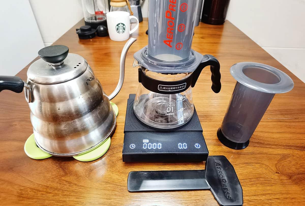 prepare everything before making aeropress cofee