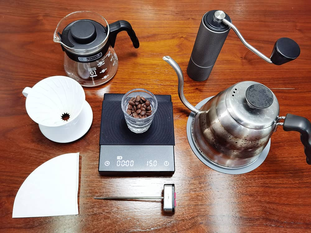 V60 pour-over coffee gears