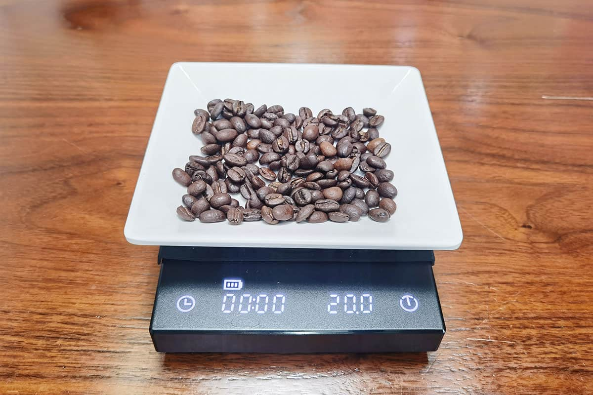weigh 20g of coffee for fp