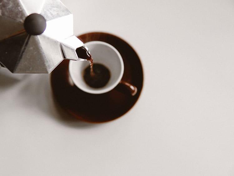 serving moka pot coffee