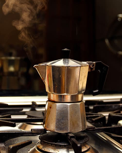 moka pot on a stove