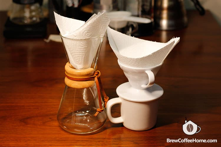 use paper towel as an coffee filter alternative