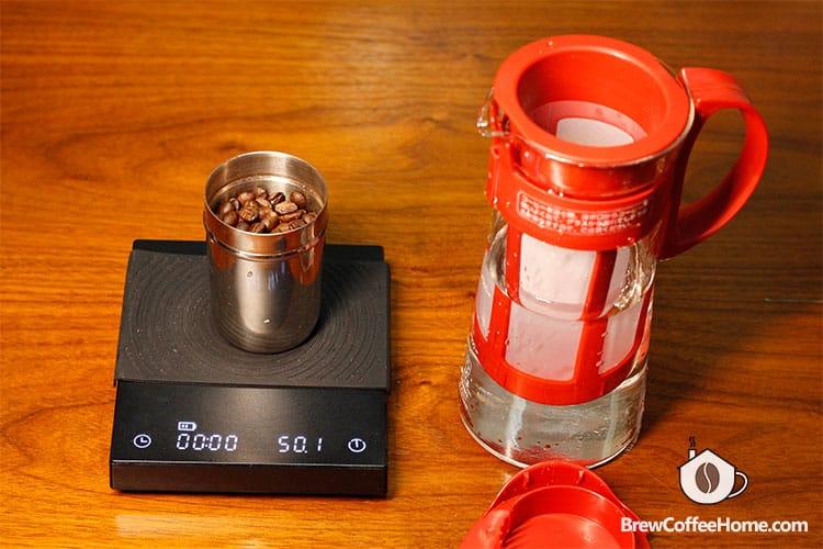 weigh coffee beans