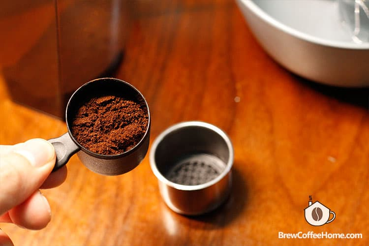 coffee grounds used for portable espresso maker